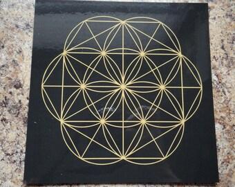 "Black Gold Laminate 8"" Flower of Life Gemstone Crystal Grid Metaphysical Bonus!"