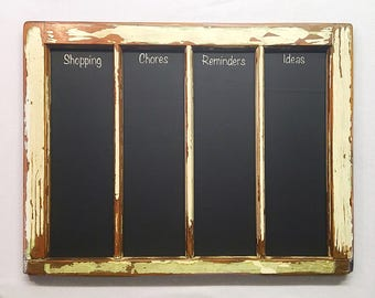 Chalkboard Window Upcycled Vintage Shopping List Daily Planner Kitchen Decor