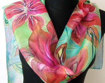 Pink floral scarf. Hand painted floral scarf. Silk scarf. Blue, red, pink, green painting.