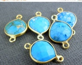 12% off Wholesale Gemstone Connector- Turquoise Station Drop Connector - 10mm Gold Over Sterling Bezel Link - Double Bail Charm Pendant (WQ-