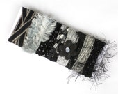 Black Fiber Bundle - Black & Silver Metallic Yarn Sample Card - STARRY NIGHT for Felting, Cards, Doll-Making, Millinery, Fiber Sampler - C13