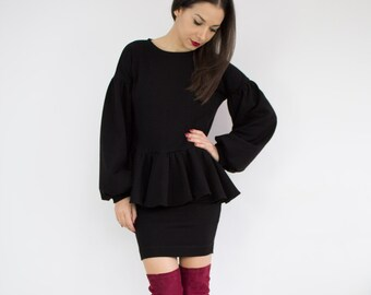 Little black dress/ Sweater dress/ Black mini dress/ Top and skirt set/ Long sleeve dress/ Black women suit/ Two piece set Peplum dress/  PM