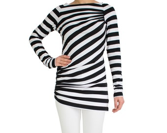 Long sleeve tunic/ Striped sweater/ Long sleeve top/ Drape tunic top/ Long sleeve shirt/ Striped top/ Trend 2017/ Casual top LONG ISLAND