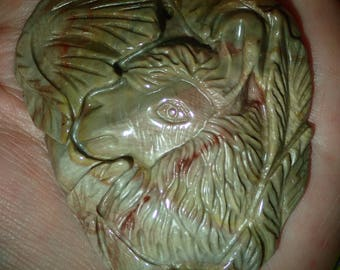 Hand Carved Succor Creek Jasper Alpaca Llama Pendant Lg