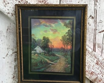 Vintage scenic house with sunset print framed in gold and black frame shabby cottage decor 10 x 12