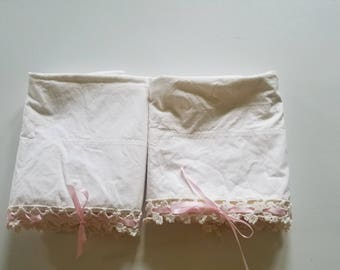 Vintage Harmony House Crocheted Pillowcases  Pink Satin Ribbon