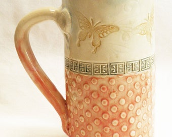 Butterfly ceramic stoneware coffee mug 20oz  stoneware 20D039