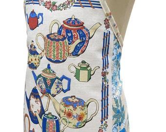 Metro Retro Blue Tea Towel 'Teapot - Boston Massachusetts' Kitchen Vintage Tea Towel HANDMADE Apron -  Upcycled.  BIRTHDAY  Gift