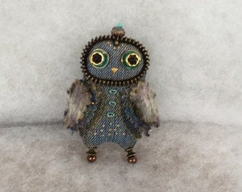 Denim owl brooch with green glass beads Jeans brooch blue owl brooch Bird brooch Summer brooch Gift brooch