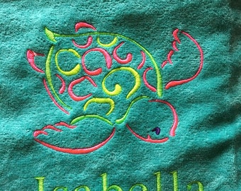 personalized, beach towels, sea turtle, towels, pool towel, vacation, wedding,