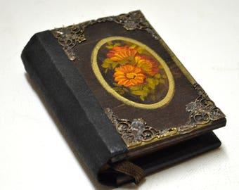 Hand painted flowers, Handmade notebook, Small journal, Vintage notebook, Wooden cover journal, Miniature, Custom notebook