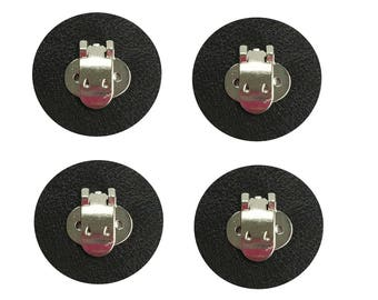 2 pairs Blank Shoe Clips with Black Leather Pad to make DIY Shoe Decorations, Embellishments