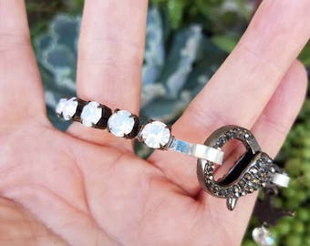 Bangle Bracelet Rhinestone Bracelet Crystal Bangle Bracelet Crown Bracelet Opal Neutral Bangle Paris Flea Market Rustic Pave Wire Wrapped
