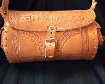 60's Tooled Leather Barrel Purse