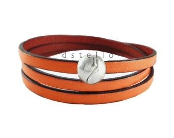 Spanish leather wrap bracelet - Stackable real leather bracelets - Custom made women /mens bracelets gift idea - Magnetic clasp