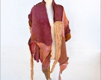 Beige rusty pink shawl scarf patchwork Hand knited wrap felted wool fabric warm unique OOAK geometrical fashion, wearable art to wear A7