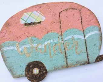 Vintage Camper cutout sign wood retro trailer