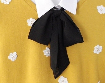 Black Bow Tie Scarf / Classic Styling Women Neck Accessory / Necktie Ascot Scarf