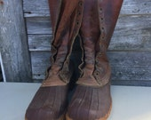 "Vintage LL Bean Duck Boots 11"" Tall L.L. BEAN Unisex Iconic Boots  Mens Size 8M Women's 10 10.5--Made In the USA"