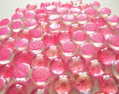 25 MINI Glass Gems - Hot PINK Glitter - Hand Painted - Tiny Gems - Half Marbles/Cabochons