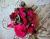 Antique Vintage Velvet Millinery Flowers Posy - #37