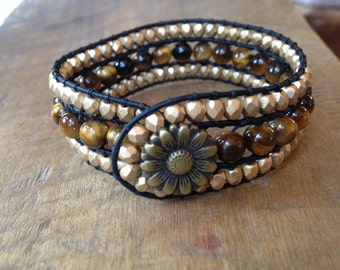 Tiger's Eye Golden Sunflower Faceted Czech Glass Beads Leather Cuff