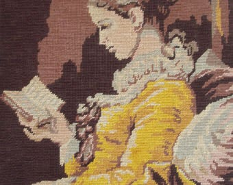 Vintage French needlepoint canvas tapestry embroidery - Young woman reading by Fragonard The Reader - La Liseuse
