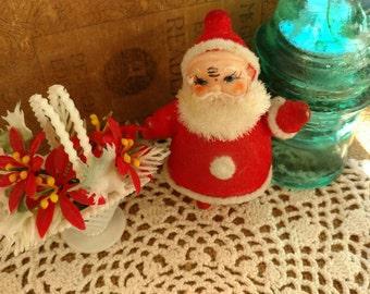 Mid Century Plastic Ornament Set - 2 Vintage Kitsch Holiday Decor, Retro Ornaments, Kitsch Christmas, Retro Santa, Pointsetta Ornament