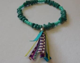 Teal and Aqua Boho Bracelet with Tassel, 7 3/4 inches