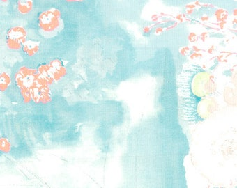 """Nani Iro Komorebi in """"Springs"""" abstract floral in turquoise on off-white, cotton double gauze fabric, by the yard"""