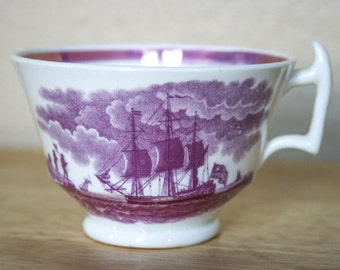 Antique,19th c,,  Lustre, Lusterware, Teacup, English Sailing Ships, Purple, Pink Opalescent