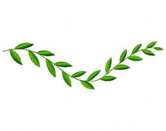 Branch with Leaves Machine Embroidery Design - Instant Download