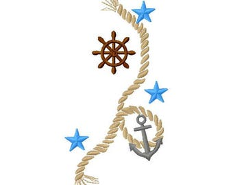 Nautical Rope Machine Embroidery Design - Instant Download