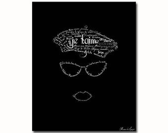French girl with beret typography illustration print