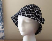 Chemo Hat Cloche Style Cotton Print in Contemporary Black and White Print, satin lined with a fabric bow, Cancer Patient Gift, Ready to Ship