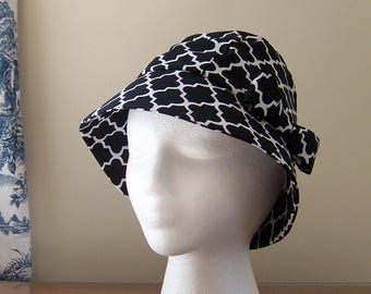 Chemo Hat Cloche Style Cotton Print in Contemporary Black and White Design, satin lined with fabric bow, Cancer Patient Gift, Ready to Ship