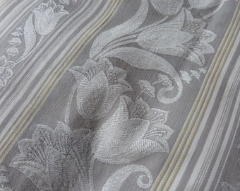 Vintage linen mattress ticking French grey ticking fabric floral damask mattress toile w tulip sewing patchwork supply textile French fabric