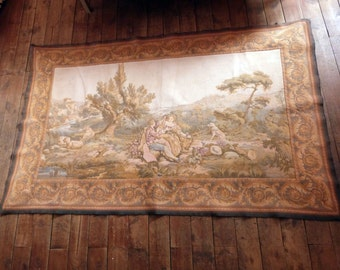 Antique French tapestry wall hanging art decor 1900s Chateau wall tapestry w elegant scene French boudoir home decor wall tapestries