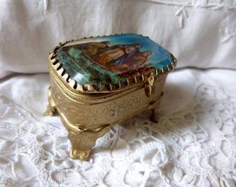 Antique ormolu box trinket box jewelry box French box antique religious souvenir keepsake jewelry box, Holy virgins Mary, les saintes Maries