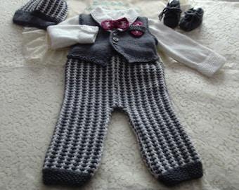 Knitting PATTERN No. 61 Newborn - 6 Month Boys Formal Suit PDF Format