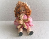 Vintage Dollhouse Miniature Polymer Clay Doll Artist Made