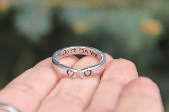 Just Do You Mantra Ring, Adjustable Ring, Hand-Stamped Heart Ring, Stackable Ring, Secret Message Stamped Inside, Inspirational Ring