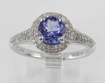 Tanzanite and Diamond Halo Engagement Promise Ring White Gold Size 7
