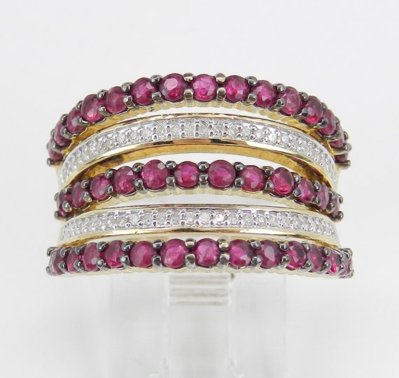14K Yellow Gold Diamond and Ruby Anniversary Band Multi Row Wedding Ring Size 7