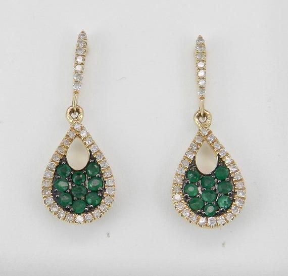 Emerald and Diamond Dangle Drop Earrings Wedding Gift May Gem 14K Yellow Gold