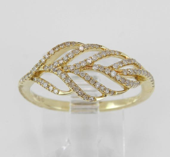Modern Diamond Feather Cocktail Cluster Fashion Ring 14K Yellow Gold Size 7