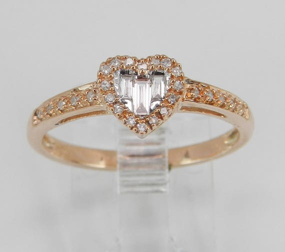 Diamond Heart Ring Promise Cluster Ring Rose Pink Gold Size 7