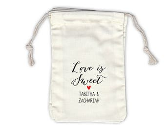Love Is Sweet Personalized Cotton Bags for Wedding Favors in Black and Red - Ivory Fabric Drawstring Bags - Set of 12 (1002)