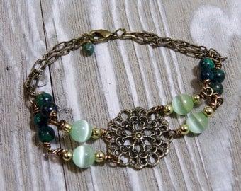 Green Beaded bracelet jewelry bracelet charm bracelet antique bracelet flower charm bracelet wire wrap jewelry precious stone jewelry boho