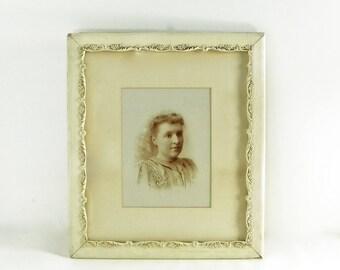 Edwardian Portrait in Gesso Frame, Large Wood and Gesso Frame, Edwardian Woman Portrait